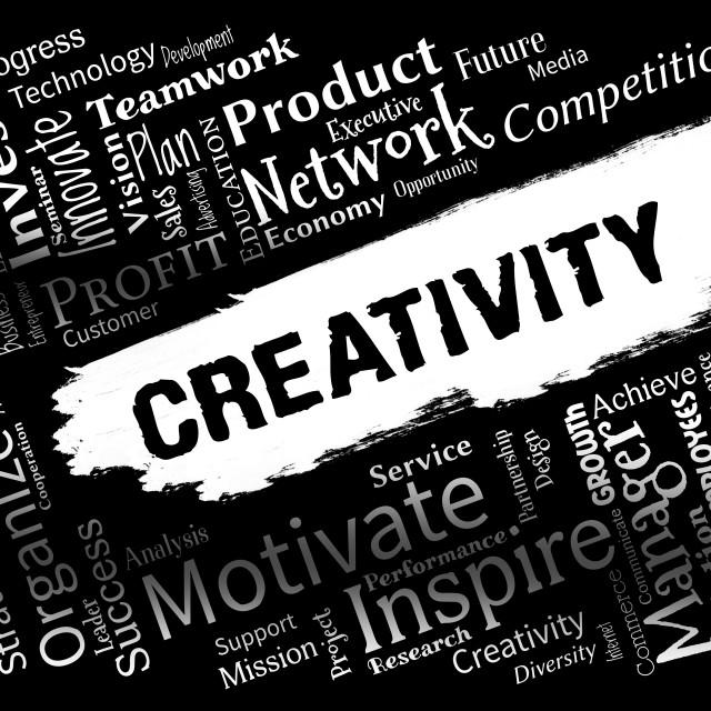 """Creativity Words Represent Innovation Ideas And Imagination"" stock image"