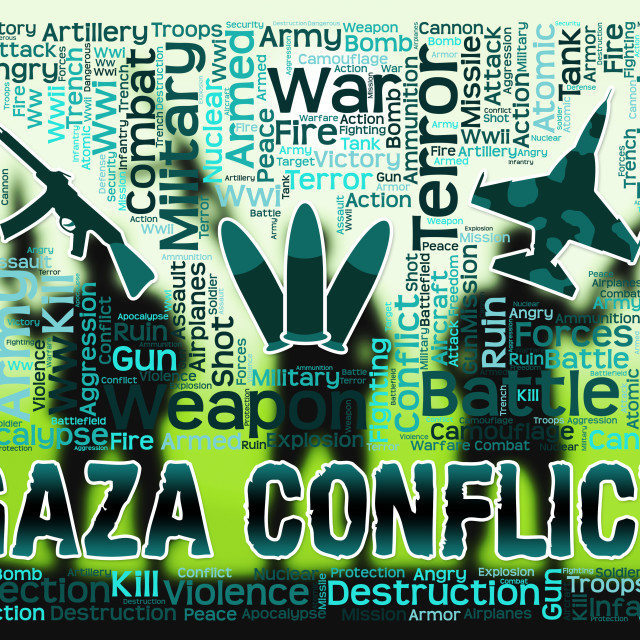 """Gaza Conflict Means Palestinian Battles And Fighting"" stock image"
