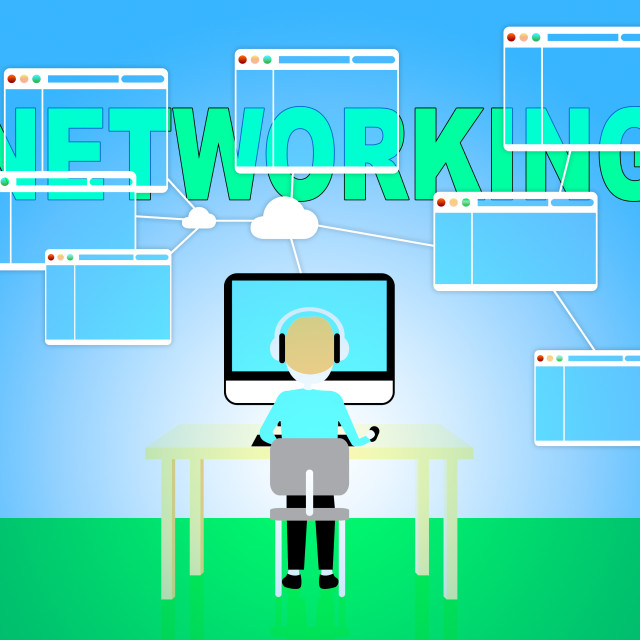 """""""Online Networking Shows Global Connectivity And Communication"""" stock image"""
