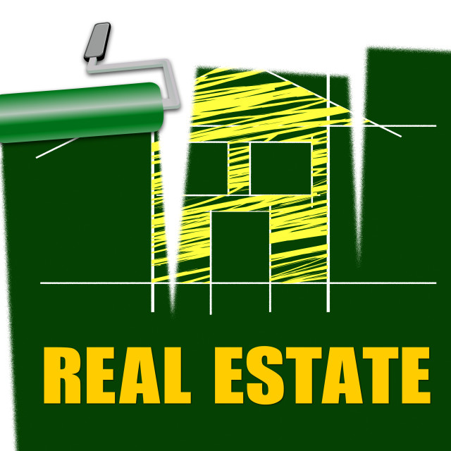 """""""Real Estate Shows Houses For Sale And Realty"""" stock image"""