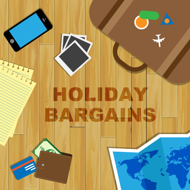 """Holiday Bargains Represents Vacation Discounts And Getaways"" stock image"