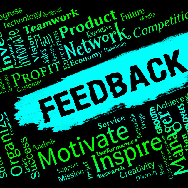 """""""Feedback Words Represents Grading Evaluation And Rating"""" stock image"""