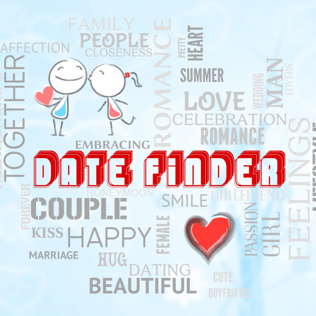"""""""Date Finder Indicates Search For Love Online"""" stock image"""