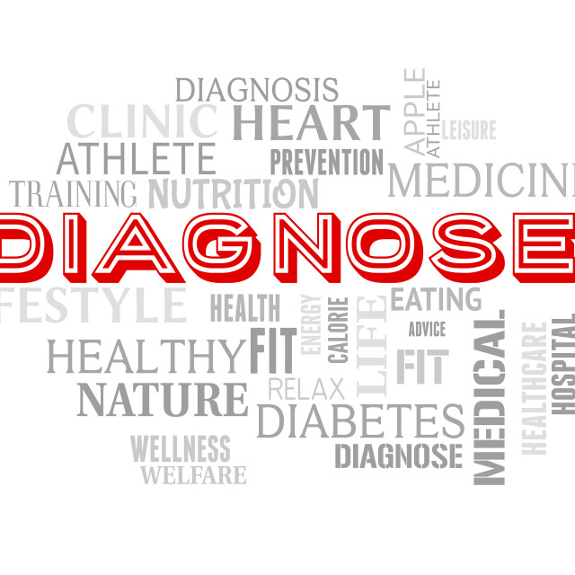 """Diagnose Words Represents Illness Examination And Diagnosing"" stock image"