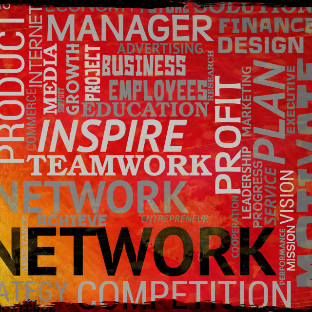 """""""Network Words Means Global Communications And Connectivity"""" stock image"""