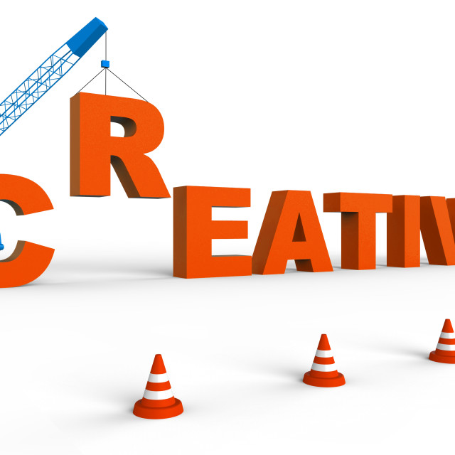 """""""Creative Word Shows Inspired And Imaginative 3d Rendering"""" stock image"""