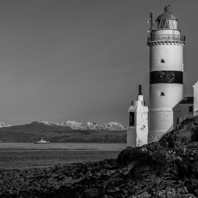 """""""Cloch lighthouse, Firth of Clyde"""" stock image"""