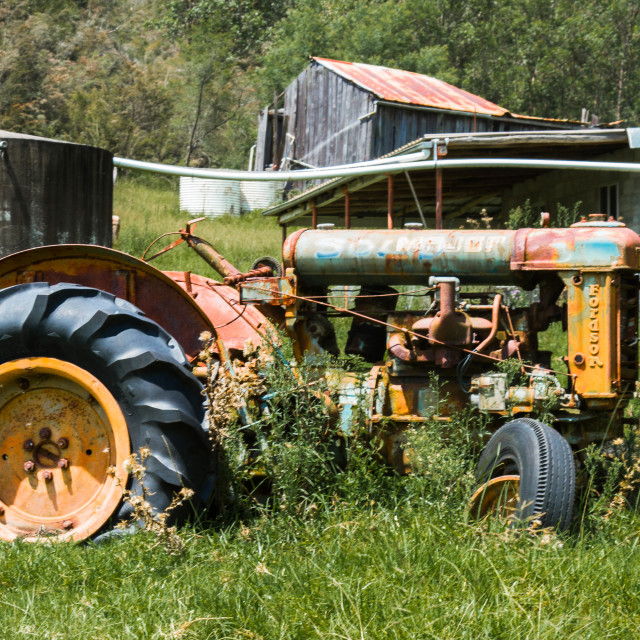 """Old Tractor forgotten in the paddock - Australia"" stock image"