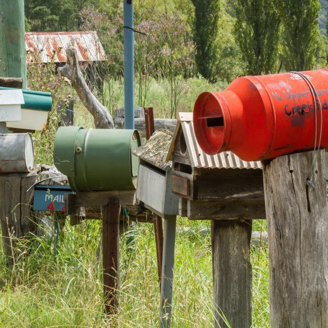 """Letter boxes at a crossroad in rural Australia"" stock image"