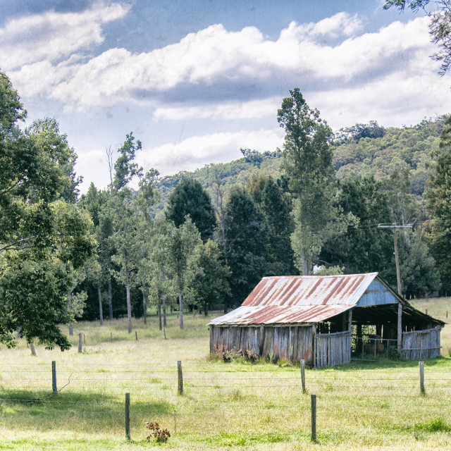"""Old Milking shed - country Australia"" stock image"
