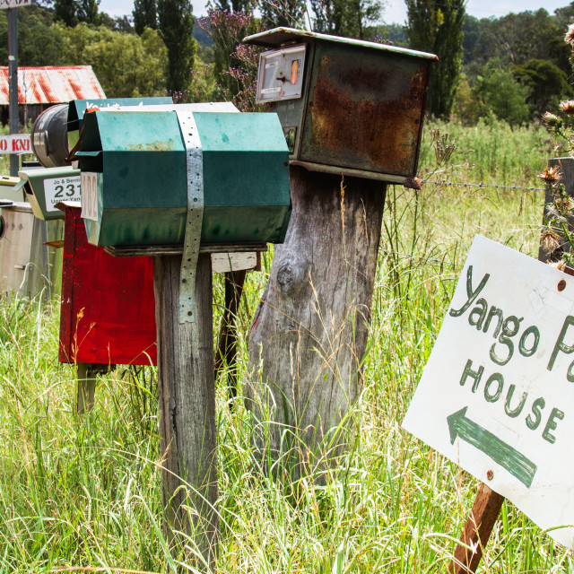 """Letter boxes on a country road in Australia"" stock image"