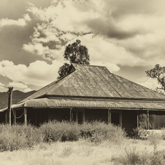 """Old house long forgotten in country Australia - Sepia"" stock image"