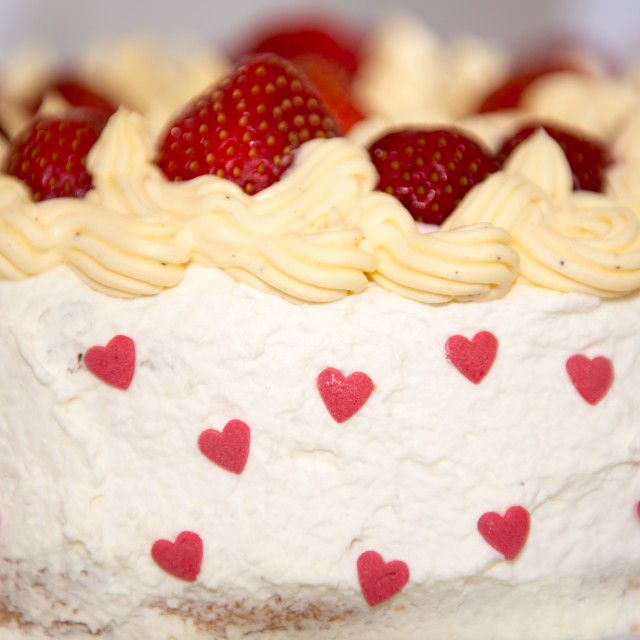 """Home made strawberry cake"" stock image"