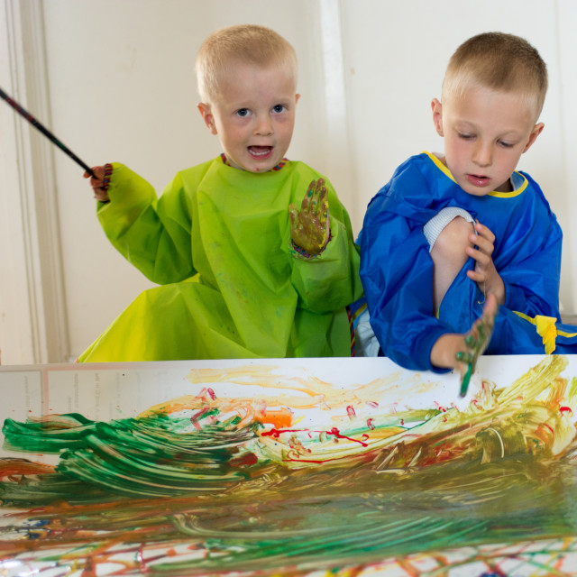 """Children painting with their hands"" stock image"