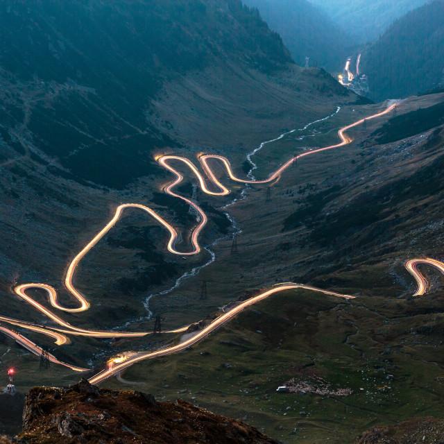 """Transfagarasan highway in Romania at night time"" stock image"