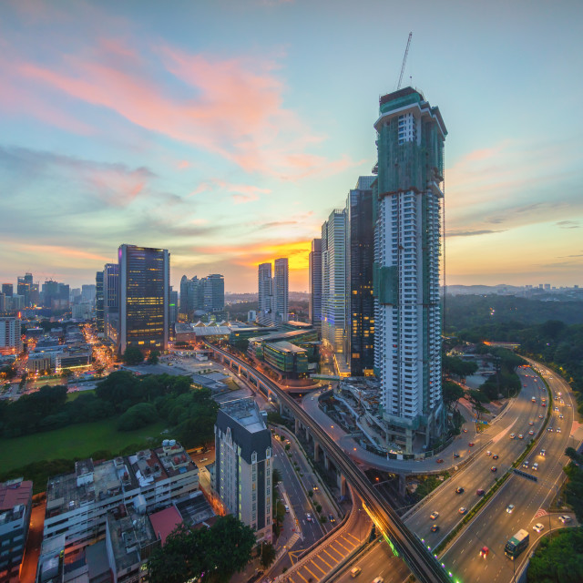 """Majestic sunset sky over Kuala Lumpur downtown"" stock image"