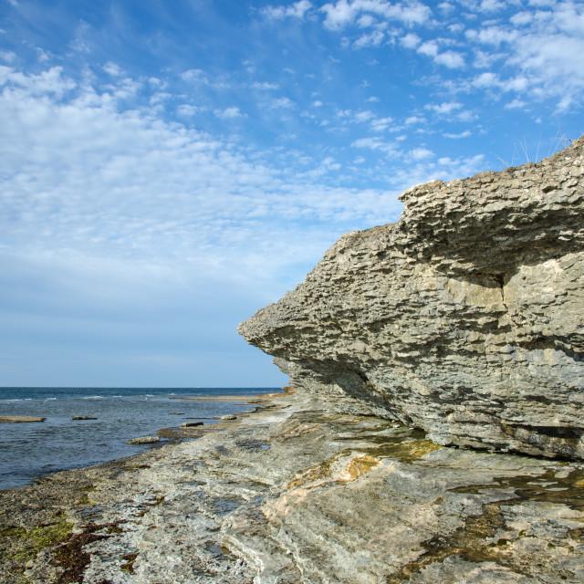 """Eroded limestone cliffs"" stock image"