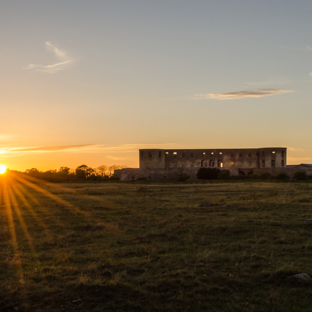 """""""Sunset by Borgholm Castle in Sweden"""" stock image"""