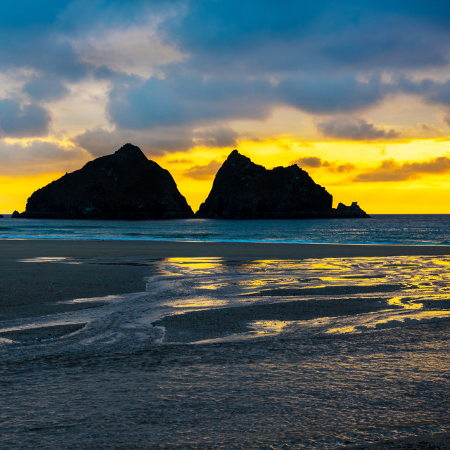 """Sunset at Holywell Bay"" stock image"
