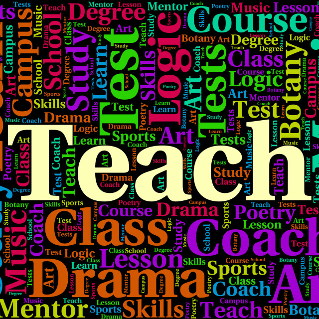 """""""Teach Word Indicates Give Lessons And Coaching"""" stock image"""