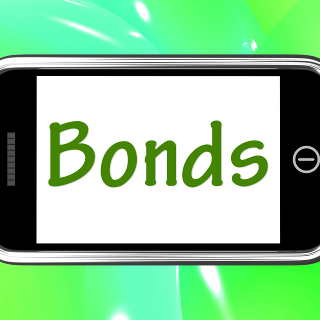 """""""Bonds Smartphone Means Online Business Connections And Networking"""" stock image"""