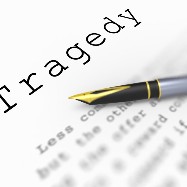 """Tragedy Word Shows Catastrophe Misfortune Or Devastation"" stock image"