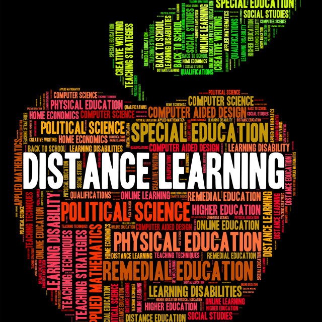 """""""Distance Learning Words Indicates Correspondence Course And Development"""" stock image"""