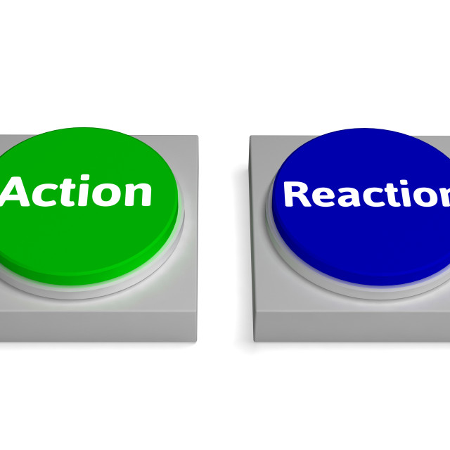"""Action Reaction Buttons Shows Acting And Reacting"" stock image"