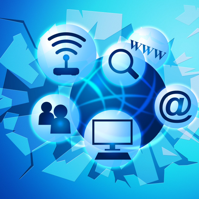 """""""Social Media Shows World Wide Web And Facebook"""" stock image"""