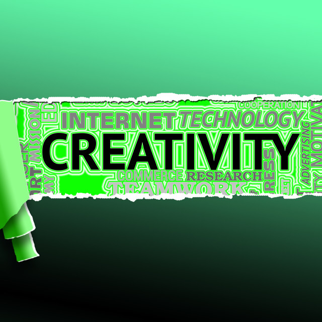 """""""Creativity Word Shows Inspired Creation And Ideas"""" stock image"""