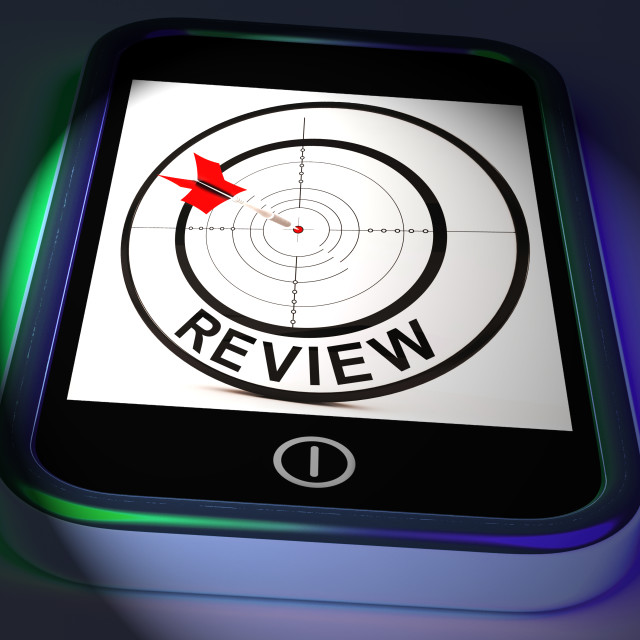 """Review Smartphone Displays Feedback Evaluation And Assessment"" stock image"