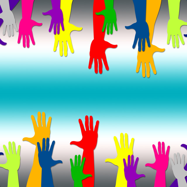 """""""Reaching Out Represents Hands Together And Arm"""" stock image"""