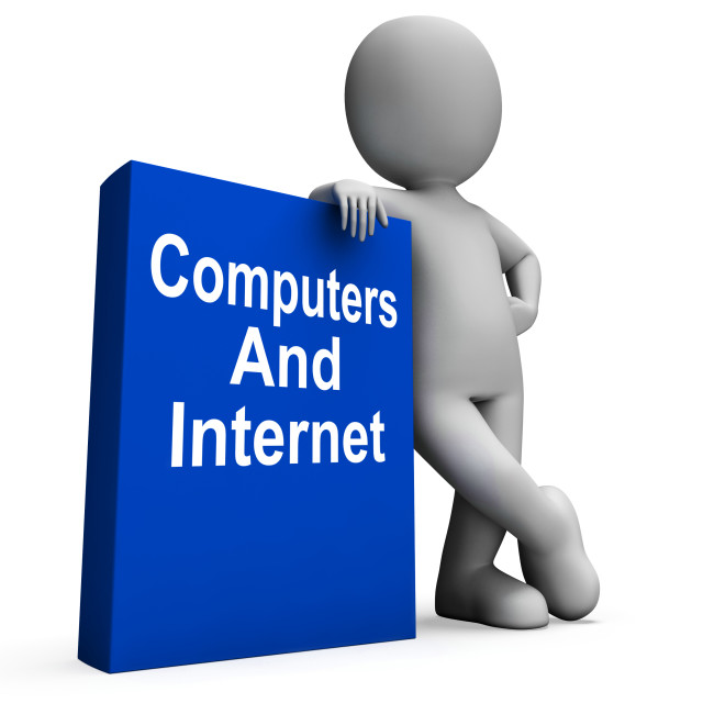 """""""Computers And Internet Book With Character Shows Web Research"""" stock image"""