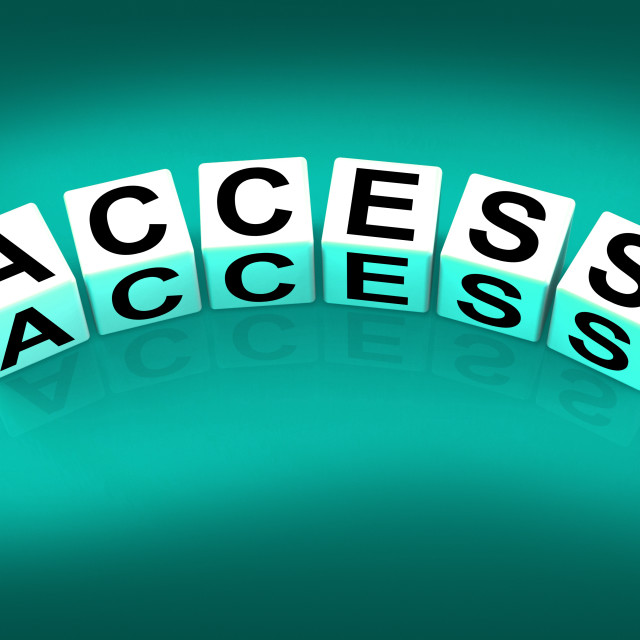 """Access Blocks Show Admittance Accessibility and Entry"" stock image"