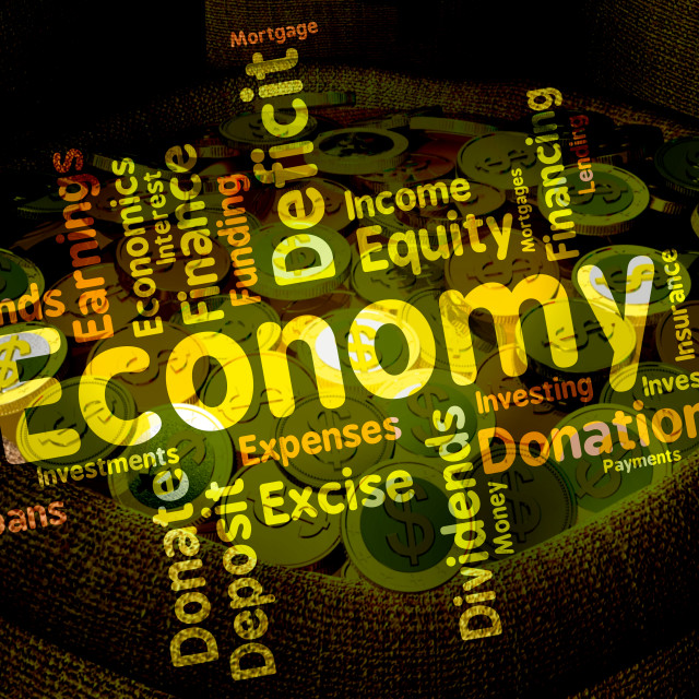 """Economy Word Represents Economizing Text And Economies"" stock image"