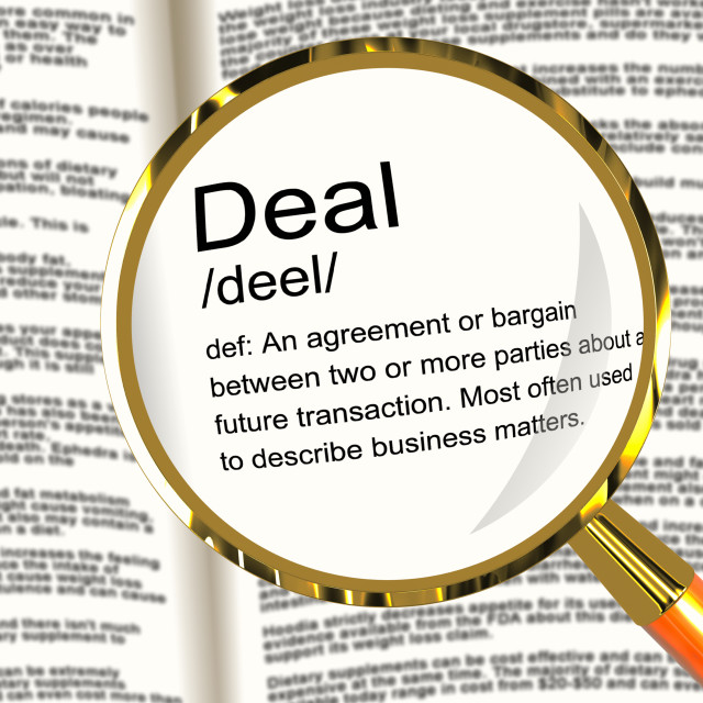 """Deal Definition Magnifier Showing Agreement Bargain Or Partnership"" stock image"