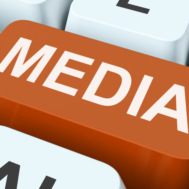 """""""Media Key Shows Multimedia Newspapers Or Tv"""" stock image"""