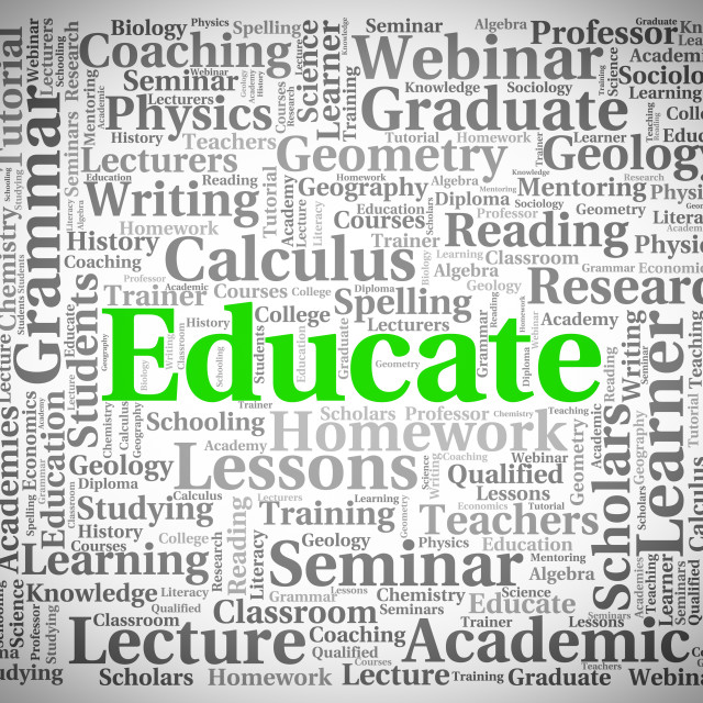 """Educate Word Shows Develop Studying And University"" stock image"