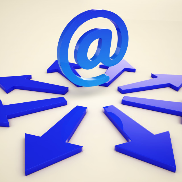 """""""Email Arrows Shows Post Correspondence Through Web"""" stock image"""