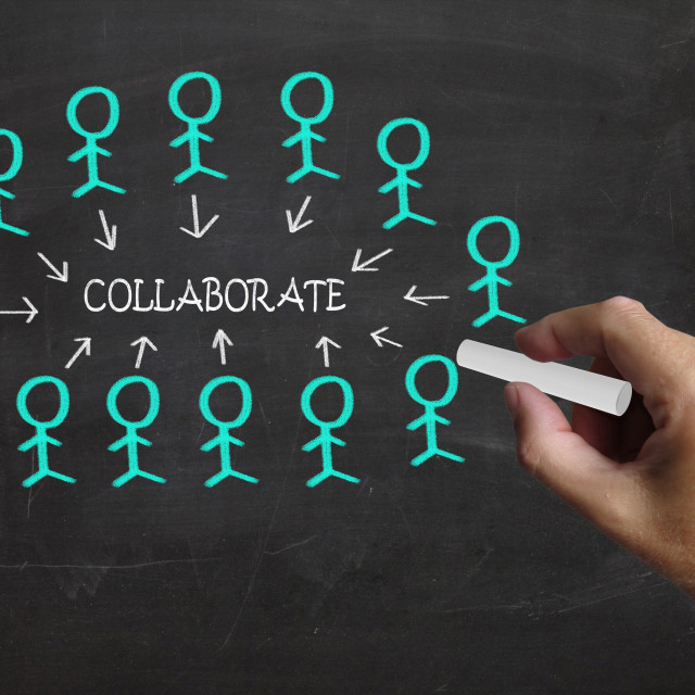 """""""Collaborate On Blackboard Means Business Teamwork Or Collaboration"""" stock image"""