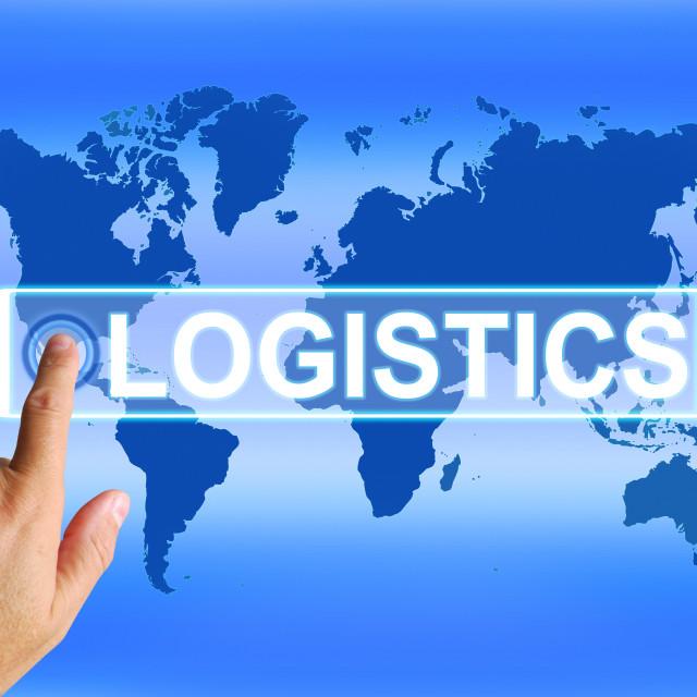 """Logistics Map Indicates Logistical Coordination and International Plans"" stock image"