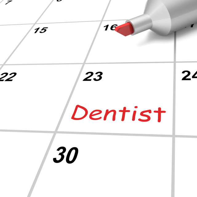 """Dentist Calendar Means Dental And Teeth Checkup"" stock image"