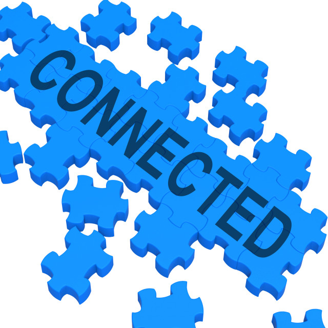 """""""Connected Puzzle Showing Global Communications"""" stock image"""