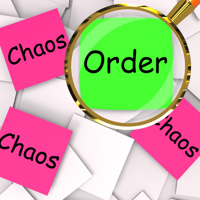"""""""Order Chaos Post-It Papers Mean Orderly Or Chaotic"""" stock image"""