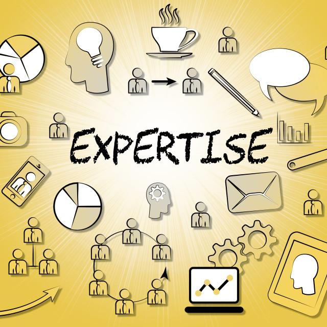 """Expertise Icons Means Trained Experts And Proficiency"" stock image"
