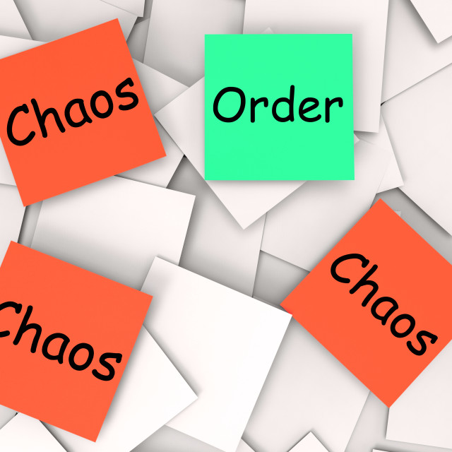 """""""Order Chaos Post-It Notes Mean Orderly Or Chaotic"""" stock image"""