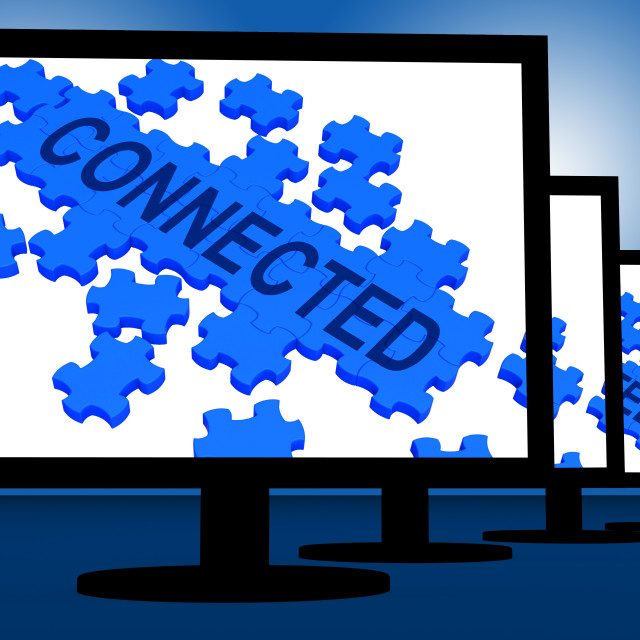 """""""Connected On Monitors Shows Global Communications"""" stock image"""