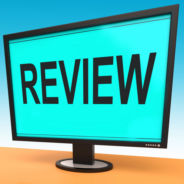 """Review Screen Means Check Reviewing Or Reassess"" stock image"