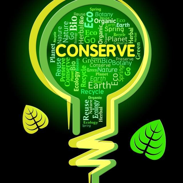 """""""Conserve Lightbulb Shows Sustainable Conserving And Protecting"""" stock image"""