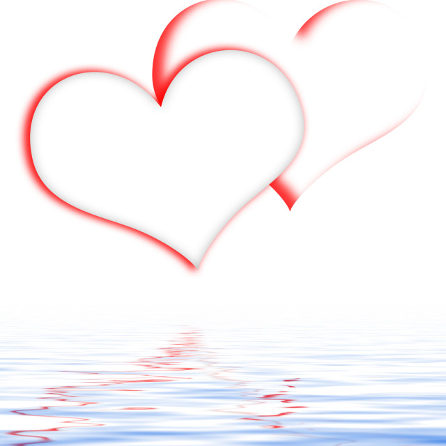 """""""Intertwined Hearts Displays Romanticism And Passionate Relationships"""" stock image"""